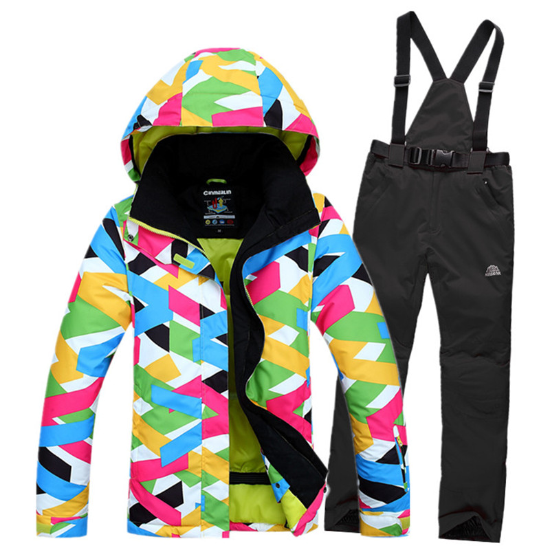2016 Fashion Snowboard Women Ski Jacket+Pant Set Outdoor Sport Wear Warm Clothing Windproof Waterproof Ski Suit Two Pieces Set(China (Mainland))
