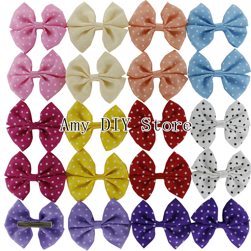 Free Shipping 50pcs/lot 3.1'' Polka Dots Grosgrain Hair Ribbon Bows WITH Clips For Baby Girls Boutique Grament Hair Accessories(China (Mainland))