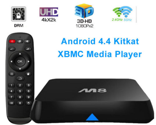 3Sets 4K HD M8 TV Boxes Amlogic S802 Quad Core 2G 8G Android 4.4 IPTV M8 XBMC Bluetooth 2.4G/5G Dual WIFI Smart TV Reciever(China (Mainland))