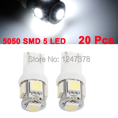 20 Pcs/lot Super White T10 Wedge 5-SMD 5050 LED Light bulbs W5W 2825 158 192 168 194 Discount 50 T10 Size 30mm x 10mm (H*D)(China (Mainland))