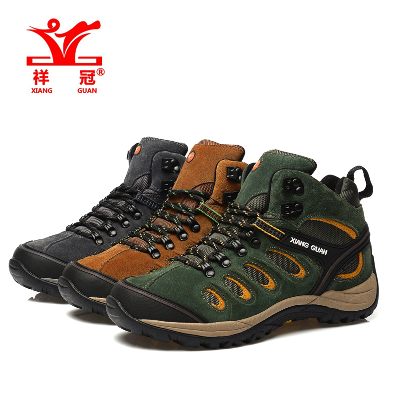 Фотография 2016 XIANG GUAN Athletic Trainers outdoor sneaker climbing  Genuine Leather Men Hiking Shoes Waterproof  Boots Climing Trekking