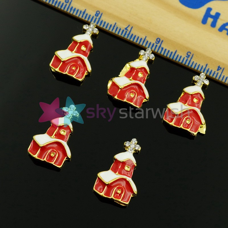 10PCS/LOT Christmas Series Church House Design Large Alloy Charms Nail Art Crafts Jewelry Making Accessories 3D DIY Accessories(China (Mainland))