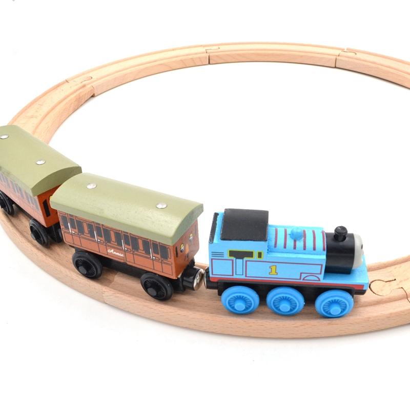 Beech Wood Thomas Train Annie and Clarabel Circle Track Railway Vehicle Playset Accessories Toys,1 SET =Track+Locomotive+Tender(China (Mainland))