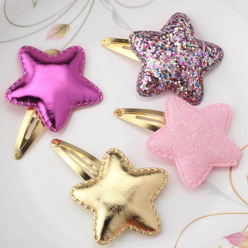 New Arrival Summer Style Metal Color Children Shiny Star Hairgrips Baby Hairpins Girls Hair Accessories Heart Star Hair Clip(China (Mainland))