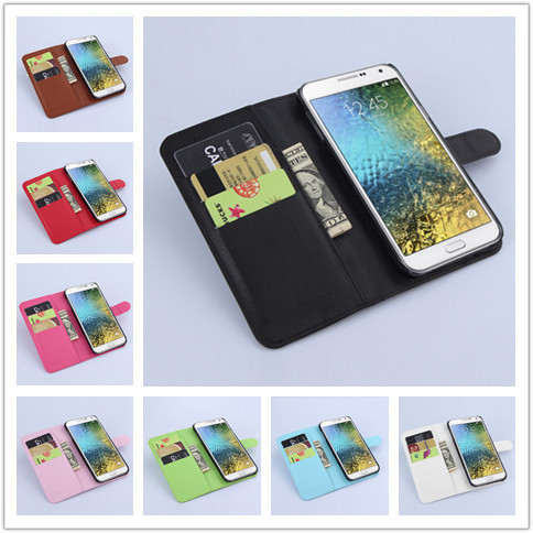 Luxury Wallet Leather Case Cover for Samsung Galaxy E7 E700 SM-E700F/DS with Card Holder Stand Flip Leather Mobile Phone Bag(China (Mainland))