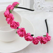 14 colors available for girl hair accessories hairband with floral bang fixed hair decoration