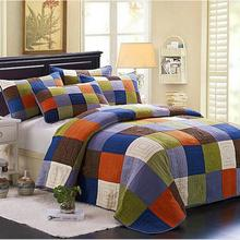 100% Cotton Europe Style patchwork Grid Queen Size Bedspread 3pcs Bedding Sets Air Condition Quilt /blanket(China (Mainland))
