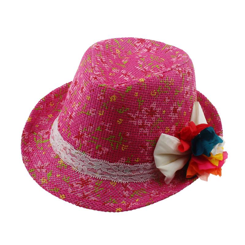 Children Floral Fedora Hat Baby Straw Cowboy Kids Summer Sun Cap Boys/Girls individual Fedoras Dicers 1