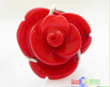 shipping> Real nature 16mm carven rose red coral 925silver ring(China (Mainland))