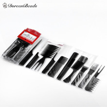 1 Set(Contain10 pcs) Black Professional Combs Hairdressing Salon Styling Barbers Set 15cm - 23cm, Free shipping 2015 New Style(China (Mainland))