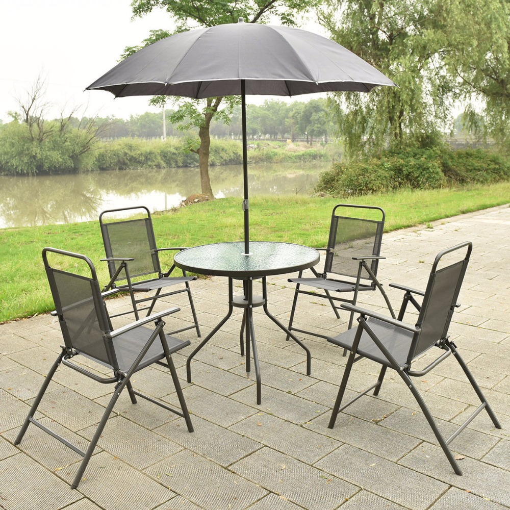 Folding Garden Table Sets PPLAR table and 4 folding chairs
