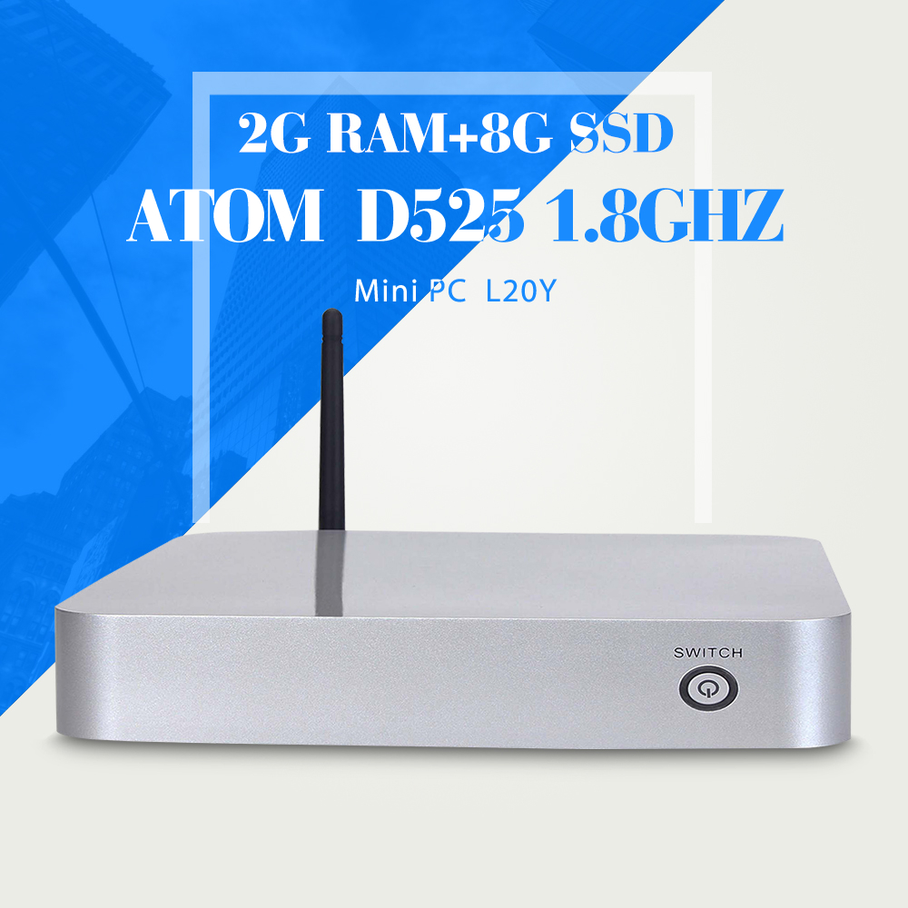 Industrial computer embedded pc D525 2gb ram 8gb ssd+wifi station PC support WIN7/8/8.1/10 mini pc thin client(China (Mainland))
