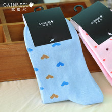 Song Riel can Heart shaped stamp sweet fresh candy color socks in tube socks sports socks