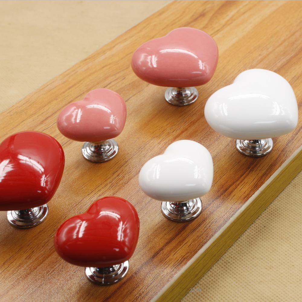 Ceramic handle a single type of hearts cartoon cabinet european-style garden furniture hardware door handle(China (Mainland))