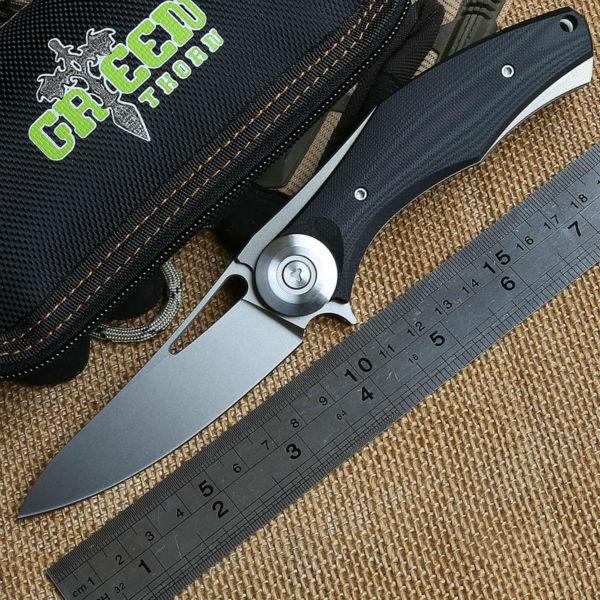 Green Thorn Shirogorov Dark V Titanium + G10 handle D2 blade ball bearing folding knife camping hunting outdoors knives EDC tool(China (Mainland))