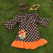 girls thanksgiving dress  turkey dress brown white polka dot dress ruffle dress  with necklace and bow(China (Mainland))