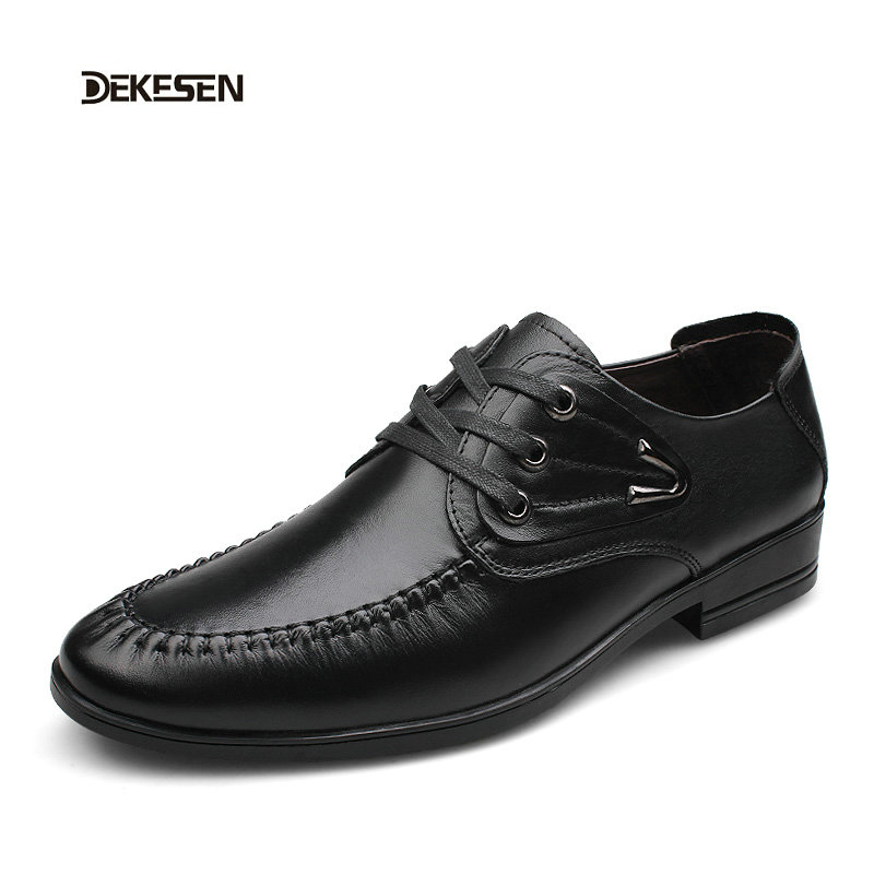 Deke Genuine Leather Men Casual Leather Shoes For Men Black Patent Pointed Toe Dress Shoes Male Formal Wedding Flat Shoes  28813<br><br>Aliexpress