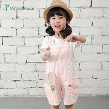 minikidhouse summer of 2016 children clothing private leisure stripe cotton can open fork high quality straps shorts hot sale(China (Mainland))
