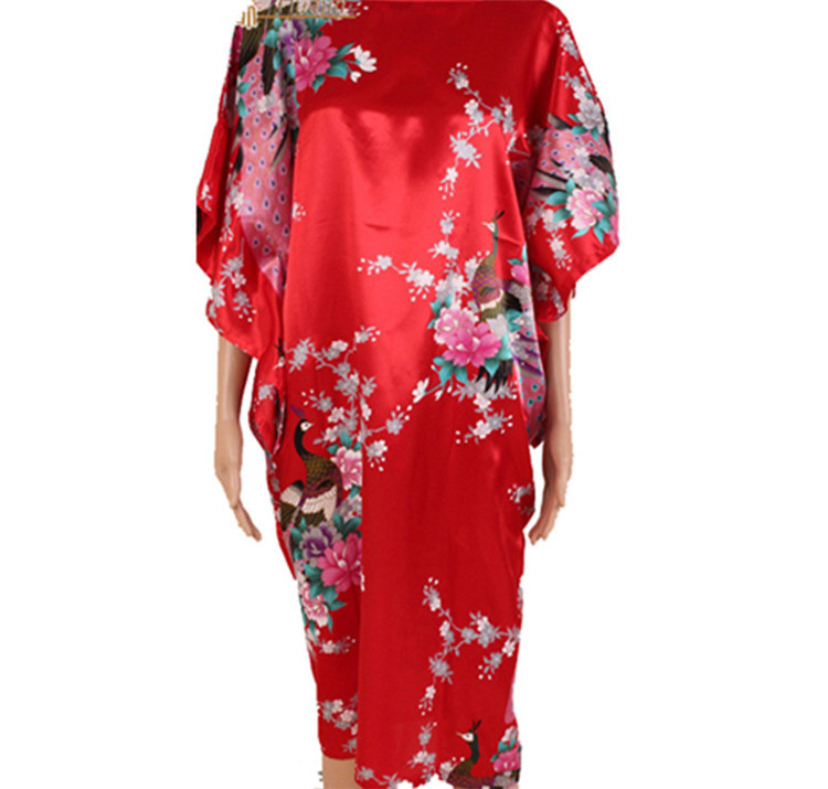 New Pullover Pajamas Chinese Silk Robes Sleepwear Peacock Printed Women's Plus Size Kimono Sleepwear Bath Robe Free Shipping(China (Mainland))