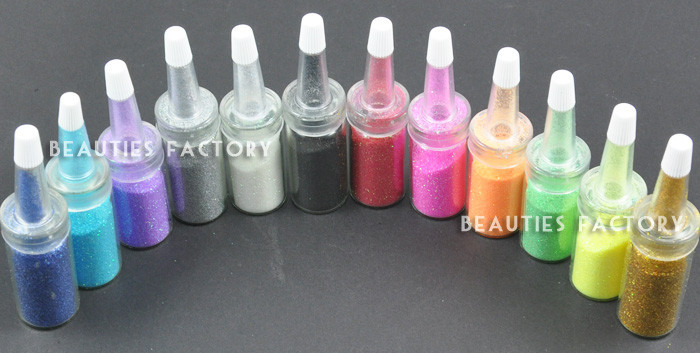 12 Colour x Bottle Nail Art Glitter Dust Decoration