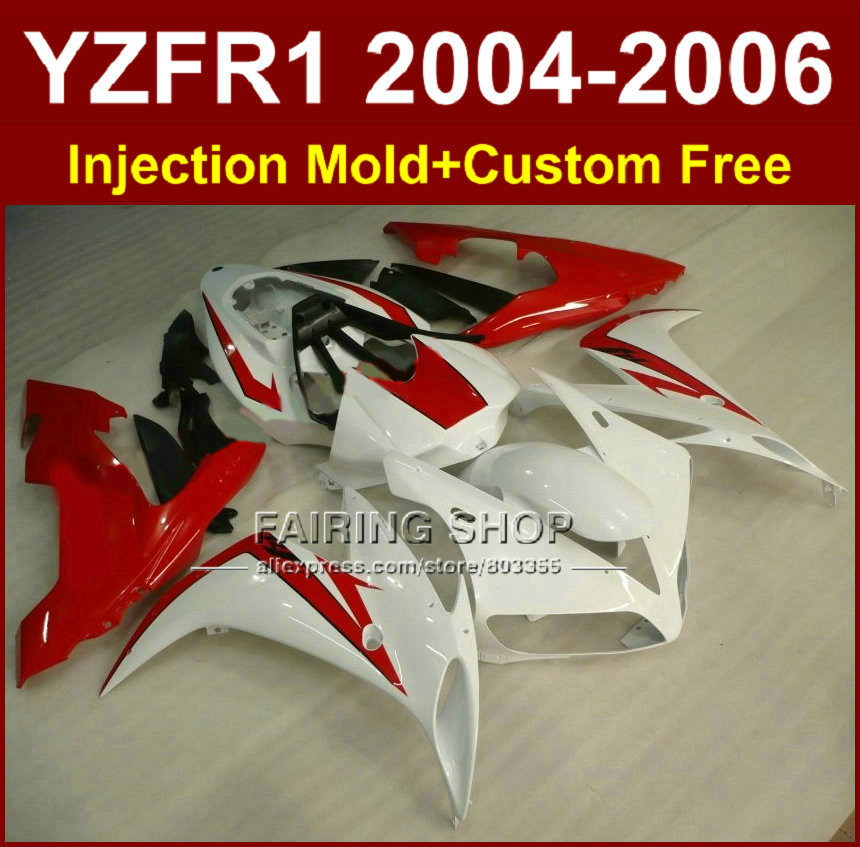 ABS plastic high quality Injection fairings kit for YAMAHA 2004 2005 2006 YZFR1 YZF1000 YZF R1 04 05 06 white red fairing parts(China (Mainland))
