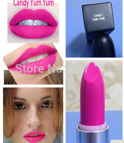 1 pcs New Hot Brand Cosmetics Makeup Lipstick candy yum cyber/ dark deed / diva / heroine / Lady danger Matte Lipstick wholesale(China (Mainland))