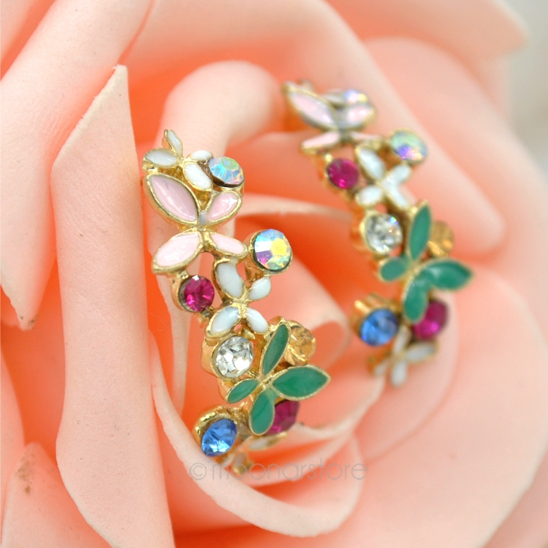 New Korean Style Alloy Enamel Colorful Rhinestone Flower Hoop Butterfly Ear Stud Earrings 1Pair Drop shipping FMHM307#S5(China (Mainland))