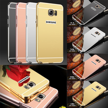 Note7 Case Luxury Aluminum Metal Mirror Bumper Frame Samsung Galaxy Note 7 S7 Edge C5 C7 J3 Pro PC Back Cover - BestMall Store store