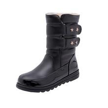 REAVE KEDI Kış Orta buzağı Çizmeler Yuvarlak ayak toka Botas feminino mujer siyah Kadınlar katı Kürk sıcak su geçirmez botte femme a1437(China)