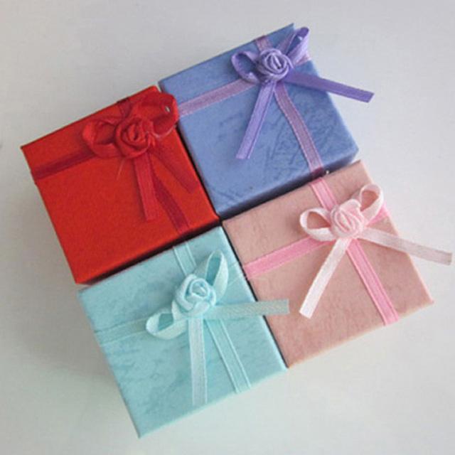 4X4X3cm Fashion Jewelry Storage Box  Cardboard Velvet Ring Gift Bow Display Box 24pcs X7R4C