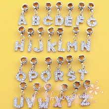 Free Shipping Alloy Bead Charm letter of the alphabet With Crystal Pendant Beads Fit pandora Bracelets & Bangles DIY Jewelry B8