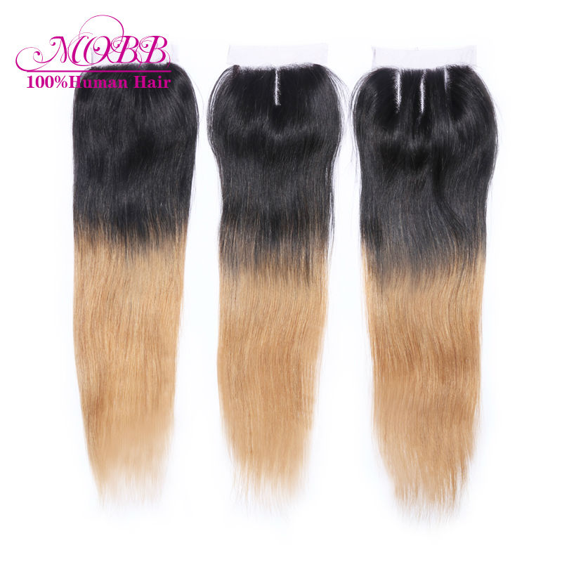 Free shipping brazilian virgin ombre color straight lace closure 100% unprocessed virgin human hair lace top closure can restyle<br><br>Aliexpress