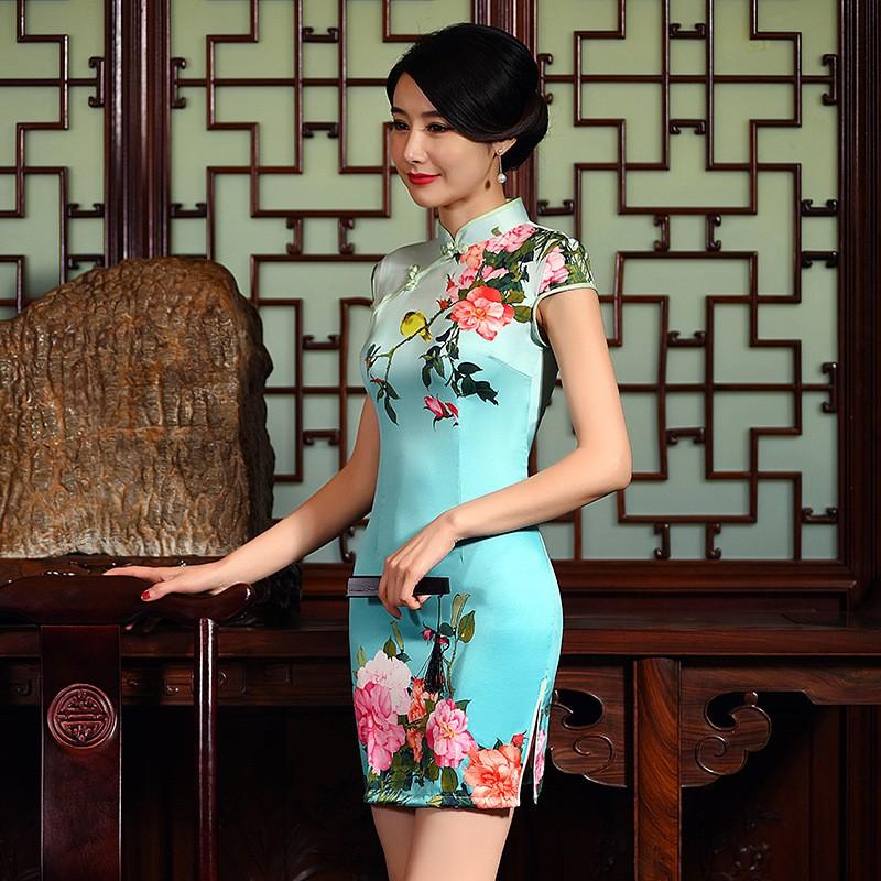 มาใหม่แฟชั่นแผนจีนชุดผู้หญิงผ้าไหมCheongsam QipaoมินิVestidoเดเฟสต้าขนาดSml XL XXL Z20160311 ถูก