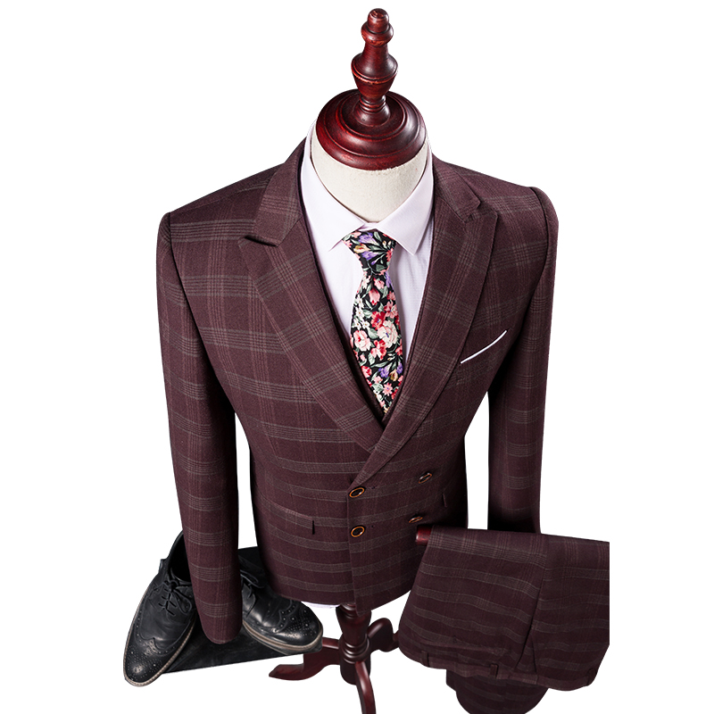 Double Breasted Red Plaid Style Suits Blazers Men Slim Fit Fashion Brand Business Groom Prom Male For Suits 3 Piece(China (Mainland))