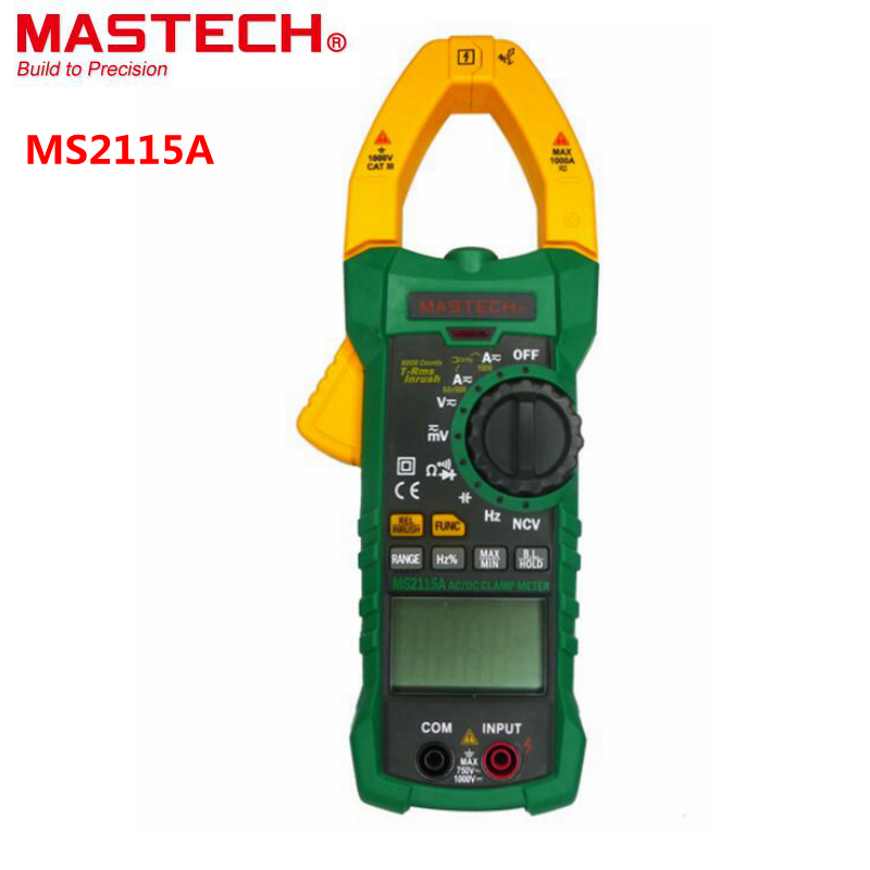 MASTECH MS2115A Digital DC/AC CLAMP METER True RMS Multimeter Voltage Current Resistance Capacitance Frequency Duty Cycle Tester(China (Mainland))