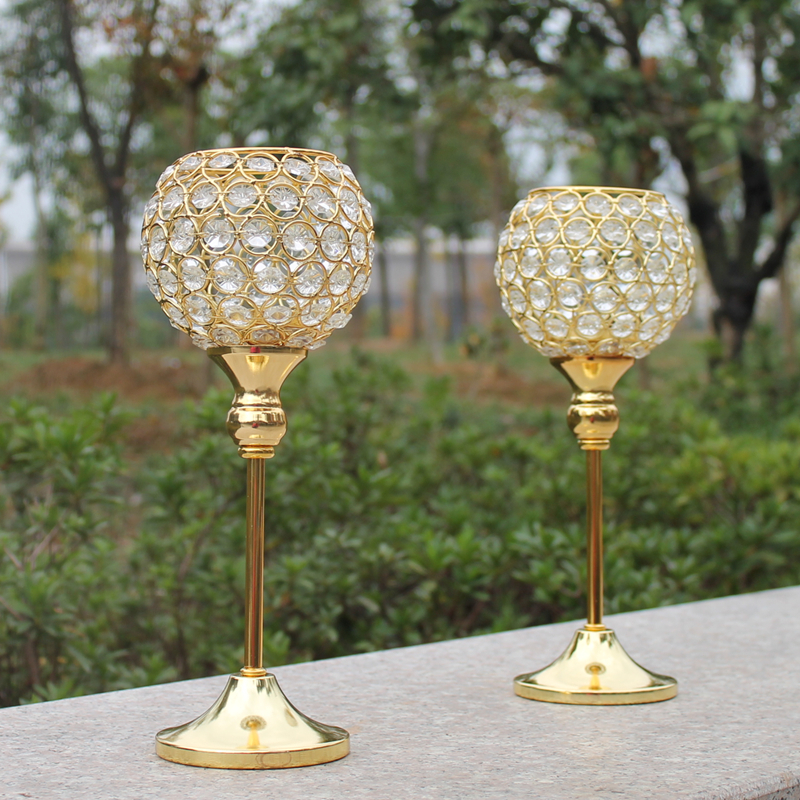 New pcs metal gold plated candle holder with crystals