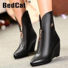 Media del tobillo envío gratis corto real de cuña de cuero genuino del alto talón mujeres nieve zapatos de la bota R4639 tamaño del EUR 31-45(China (Mainland))