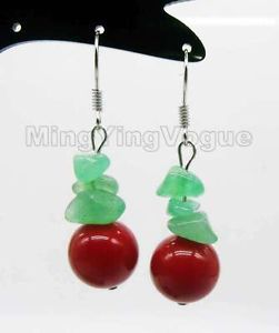 Free shipping Hot sale >>>> 12mm Round Red shell pearl & Green baroque jade Alloy dangle earring_SPE08(China (Mainland))