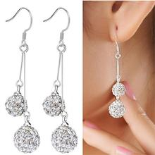 Trendy Brand Silver Alloy Crystal Earrings Double Balls Dangle Earrings Fashion For Women Statement Jewelry(China (Mainland))