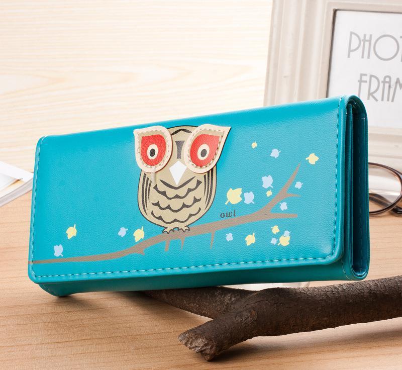 New Fashion Cute Carton Owl 7 Candy Colors Women Long Wallets Popular Portable Change Purse Delicate Casual Lady Cash Purse(China (Mainland))