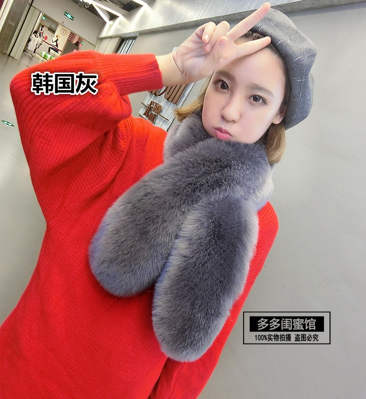 Warm winter fox fur imitation lady cross all-match Faux Fur Collar Scarf Shawl fur collar