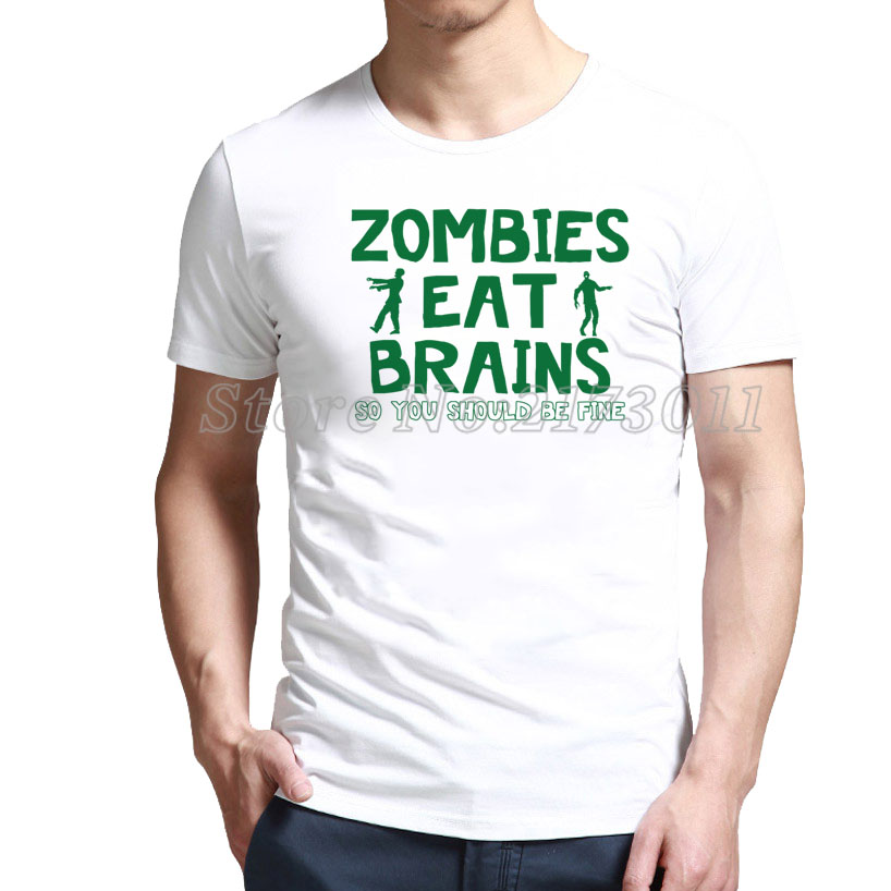 Buy Casual Zombies Eat Brains. So You Should Be Fine Funny Zombie Shirt with up to % 80 off(China (Mainland))