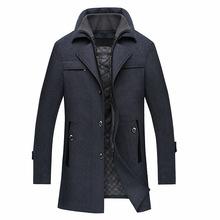 Men Luxury Woolen Coats Fashion Slim Wool Overcoat England Style Winter Long Design Cashmere Peacoat casaco sobretudo masculino(China (Mainland))