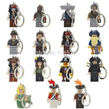 1pcs Pirates of the Caribbean Handmade Minifigures Key Chain Key Ring DIY Customize Keychains Building Blocks Toys Gift Children(China (Mainland))