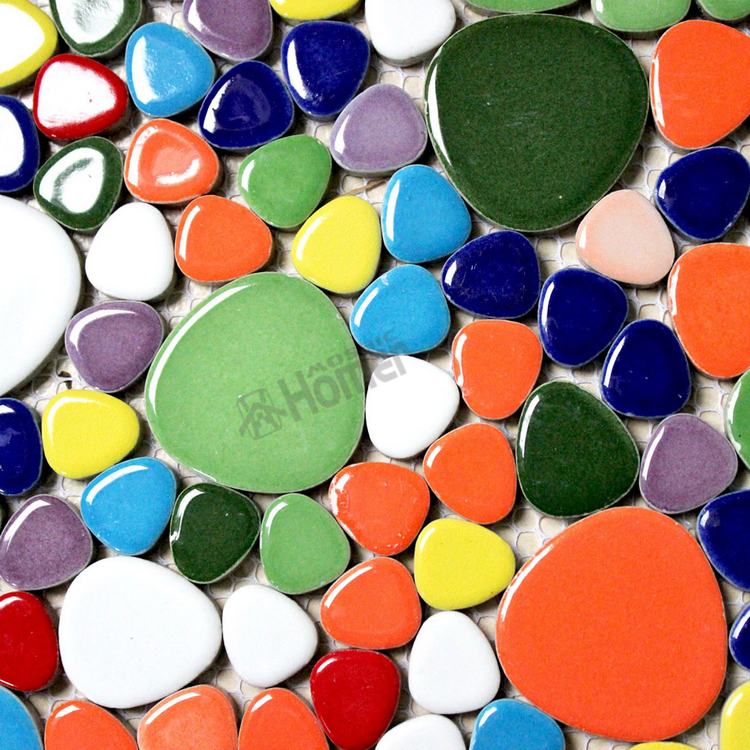 "shipping free!! 12x12"" rainbow colorful pebble ceramic mosaic tiles, kitchen, bathroom floor tiles , HME7002, home decoration(China (Mainland))"
