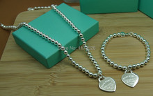 New arrival Fashion Jewelry,925 Sterling silver heart / LOCK charm necklace & bracelet Sets for women, silver beads set jewelry(China (Mainland))