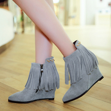 Women's Wedge Ankle Boots Genuine Suede Leather Pointed Toe Short Booties Brand Designer Rivet Fringe Fashion Autumn Shoes Women(China (Mainland))