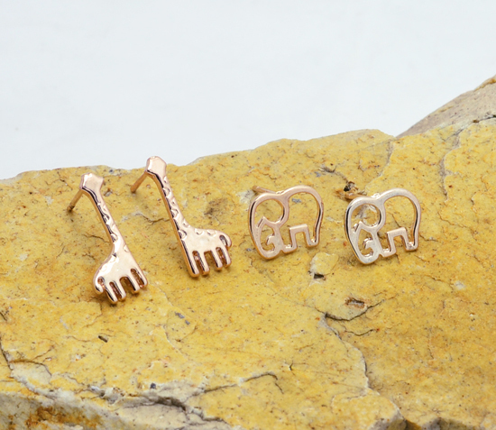 Гаджет  Fashion jewelry New rose gold plated cute Elephant giraffe animal stud gift  for women girl wholesale E2615 None Ювелирные изделия и часы