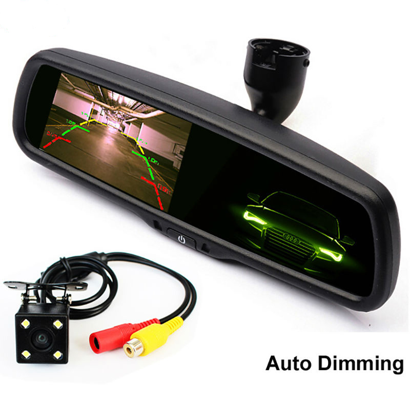 4.3 Inch Auto Dimming Interior Mirror Car Parking Monitor With CCD Rear View Camera, Special Bracket For VW Toyota Kia Honda(China (Mainland))