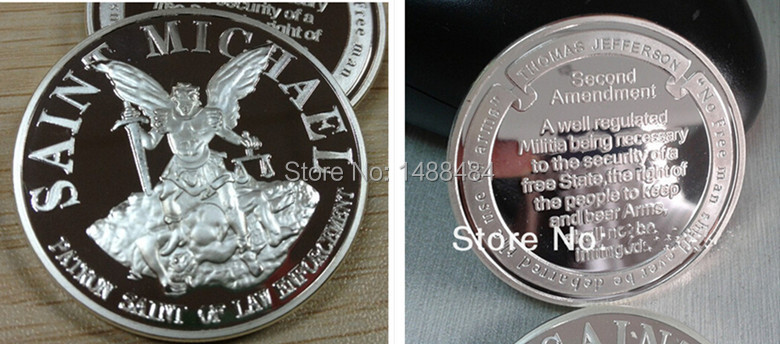 200 pcs/lot wholesale ST MICHAEL PATRON SAINT NRA SECOND SILVER CHALLENGE 999 FINE SILVER PLATED -COIN/MEDAL(China (Mainland))